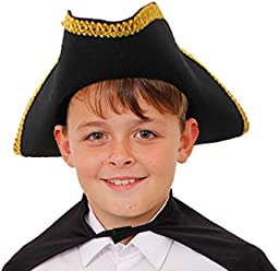 Pirate Tricorn Fancy Dress Hat Dick Turpin Hat Black New by Smiffys