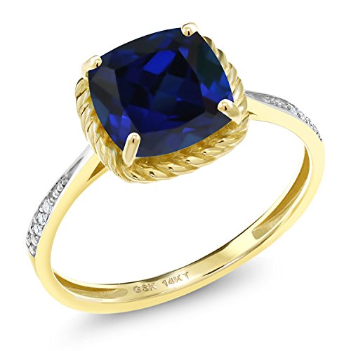 Gem Stone King 14K Yellow Gold Blue Simulated Sapphire and White Diamond Women's Engagement Ring (2.56 Ct Cushion Cut Available 5,6,7,8,9) (Size 8)