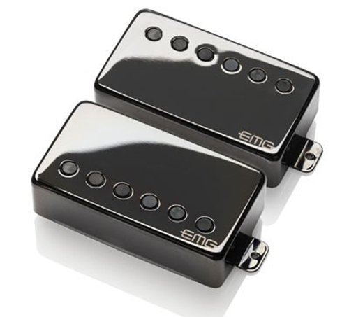 EMG JH James Hetfield Signature Guitar Pickup Set, Black Chrome Active Humbucker Pickup Set