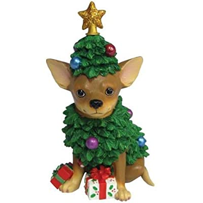 4.75 Inch Tan Chihuahua As a Christmas Tree Collectible Figurine by WL