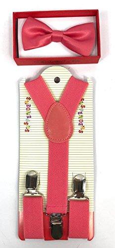 Toddler Kids Boys Girls Child Suspender Bow Tie (Coral Pink)