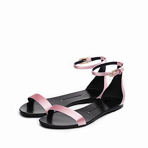Plat Simples Chaussures Mot 36 Bouton Une Chaussures DHG D'Été Mot Rond Talon Sandales nZxq4wWHX