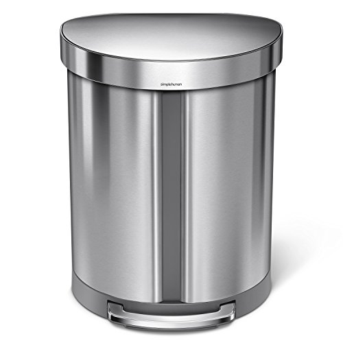 simplehuman 55 Liter / 14.5 gallon Stainless Steel Semi-Round Kitchen Step Trash Can Dual Compartment Recycler, Brushed Stainless Steel