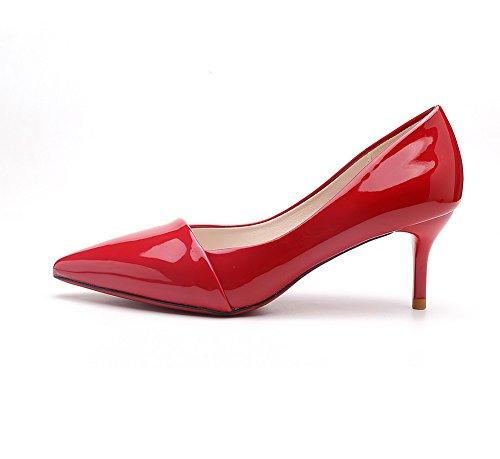 AalarDom Mujer Puntiagudo Tacón Alto Material Suave Sólido De salón Rojo-Pajarita