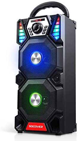 [Upgraded] SOCOVEZ Transportable Bluetooth Speaker with Double Subwoofer,Bluetooth Speaker with Audio Recording/LED Gentle/TWS, Transportable Speaker Assist MIC/AUX/USB/Micro SD Enter,Perfact for Occasion