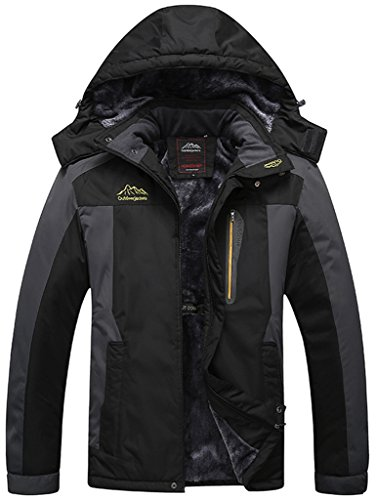 Sawadikaa Hombre Chaqueta de Esquí Alpinismo Al Aire Libre Impermeable Chaqueta de Nieve Lana Capa Excursionismo Ropa de Deporte Negro