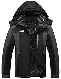 Sawadikaa Men's Outdoor Waterproof Mountain Fleece Plus Size Ski Jacket Raincoat