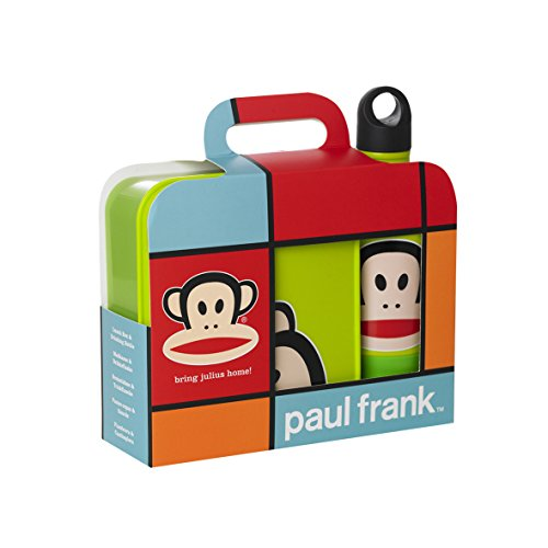 Paul Frank Lunch Set Lunch Box Drinking Bottle and Cup, Food Container, Box, Bottle, Light Green, RCF20350001 -