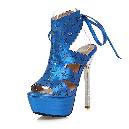 Hueca Hoesczs Tamaño Tacones 43 Blue Estilo Verano Plataforma 33 2018 Mujer Moda Zapatos Bombas Grande Delgadas Altos Sandalias De qwqCr4z