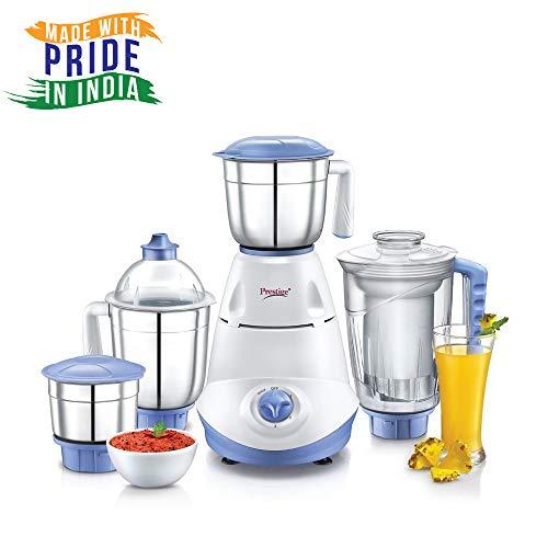 Prestige Iris 750 Watt Mixer Grinder with 3 Stainless Steel Jar + 1 Juicer Jar (White and Blue) Discounts Junction
