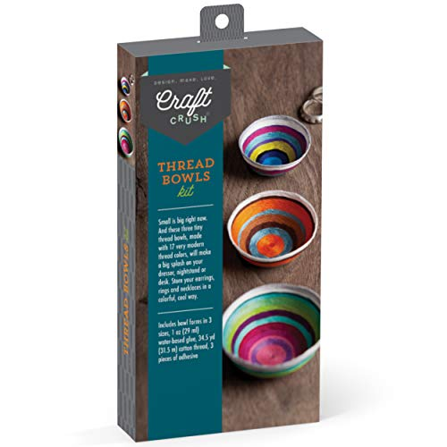 Craft Crush - Thread Bowls Kit - Craft Kit Makes 3 Tiny Thread Bowls