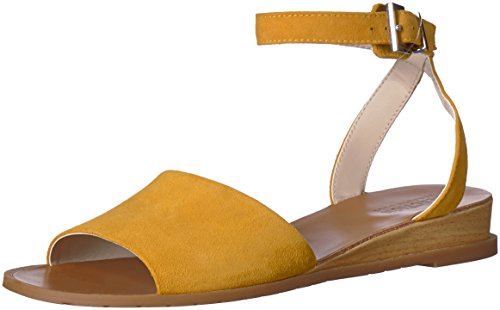 Cole Kenneth Sandals Suede (Kenneth Cole REACTION Women's Jolly Low Ankle Strap Wedge Sandal, Marigold, 8.5 M US)
