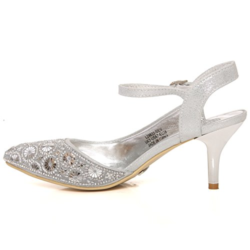 Unze Women ISLA Party Sling Back Ladies Buckle Strap Dinner Cutout Pump Style Evening Prom Heel Sandal UK Size 3-8 Silver U6CvrY