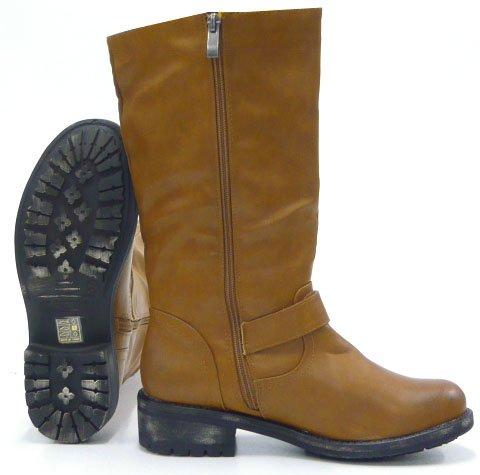 Strass Nieten Stiehe Damen Schuhe Biker Boots Camel