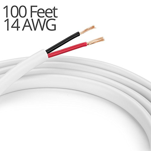 - K-tech In Wall Speaker Wire 14AWG UL CL2 Rated 2-Conductor Wire White - Oxygen Free Bare Copper for Home Theater and Car Audio (2-Conductor, 100 Feet)