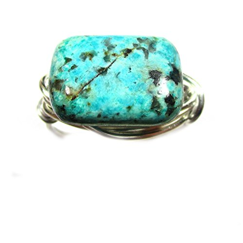 Beautiful African Turquoise Silver Wire Wrap Ring