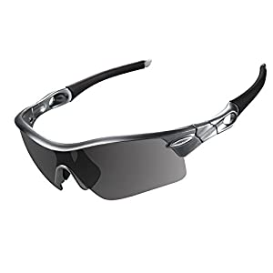 OBERLY S02 Polarized Sports Sunglasses with 4 Interchangeable Lenses for Men Women Cycling Baseball Golf Fishing Driving Glasses