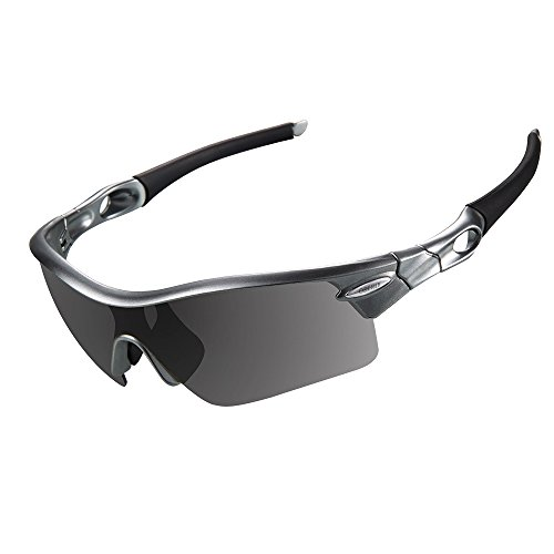 OBERLY S02 Polarized Sports Sunglasses with 4 Interchangeable Lenses for Men Women Cycling Baseball Golf Fishing Driving - Sports For Men Sunglasses
