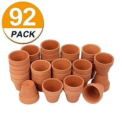 "[92 Pack] 2"" Small Clay Pots Mini Planter Nursery Pots Terracotta Pot Clay Ceramic Pottery Cactus Flower Pots Lawn & Garden Terra Cotta Pots Succulent Nursery Pots with Drainage Hole (92): Garden & Outdoor"