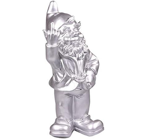 Stoobz Figura Enanito de jardín Travieso sacando el Dedo - para casa y jardín - Plateado - 15 x 12 x 32 cm: Amazon.es: Jardín