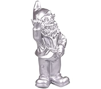 STOOBZ PP 005ZI 15 x 12 x 32 cm Cheeky Garden Gnome Figure for Home and Garden – Silver