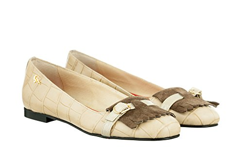 Gianrico Mori, Shyla, Ballerina Leather with Fringe Leather Beige