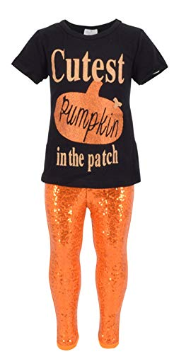 Unique Baby Girls 2 Piece Cutest Pumpkin in The Patch Halloween Outfit (5, Orange)