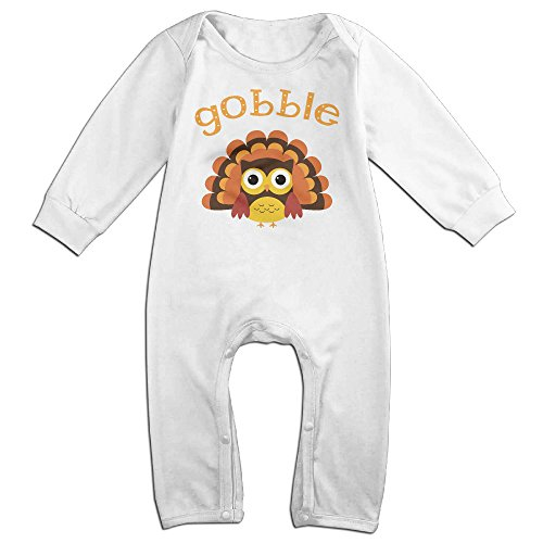 Cute Thanksgiving Turkey Gobble Baby Onesie Bodysuit Infant Romper White 24 Months (Monogram Tablecloth)