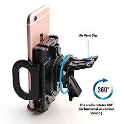 High Quality Flexible Air Vent for Apple 6S, 6, 6 Plus, 5S, 5C, 5 ; Samsung Galaxy S7, S6, S5, S4, Note 5, 4, Edge w/ Cushioned Car Mount Holder (use with or without case) - Retail Package