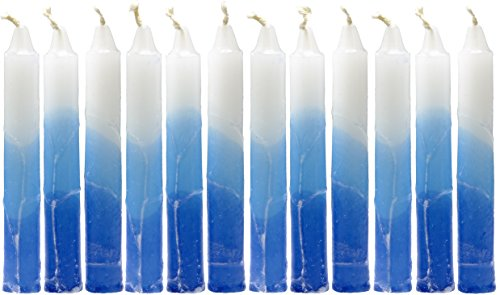 Shabbat Candles - Decorative Taper Candle Set with Fancy White, Azure, Royal Blue, and White Stripes - Safed Candles - Made in Israel