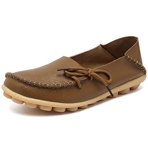EQUICK Damen Leder Slipper Lässige Mokassin Driving Outdoor Schuhe Innen Flache Slip-On Slippers 01khaki