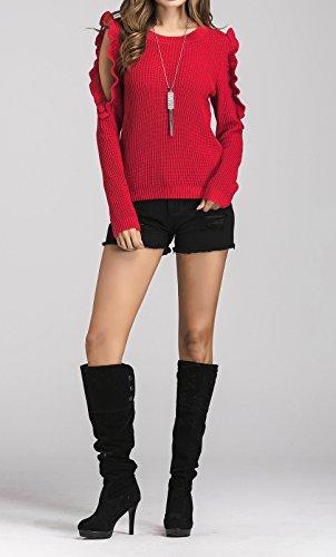 Sweater Printemps Femme Rond Hauts Chandail Mode Pulls Col Unie Rouge Blouse Couleur Casual Nu Tricots Chemisiers Jumper Shirts Automne Epaule Longues et Tops Manches TqnwxCrTA