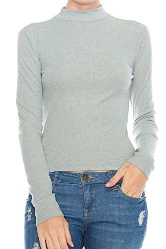 KLKD Women's Ribbed Mock Neck Long Sleeve Knit Crop Top Heather Grey Small