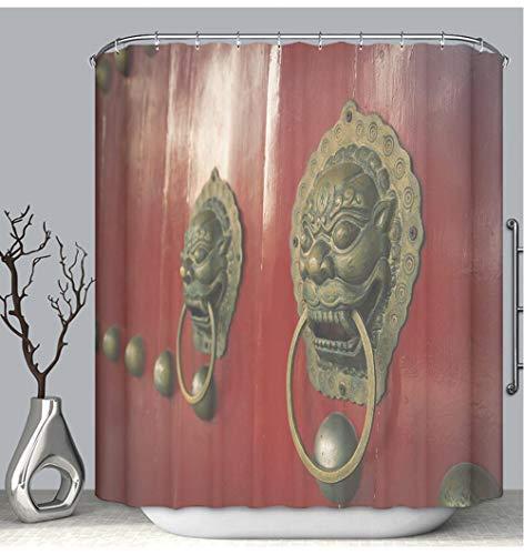 - BEICICI Color Shower Curtain Liner Anti-Mildew Antibacterial Ancient Chinese Door Knocker Custom Shower Curtain Bathtub Bathroom Accessories 72W×78Linch