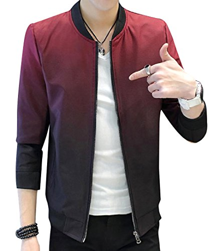 Men Long Red Fit Howme Jersey Regular Jacket Gradients Front Zip Sleeve PdYCda6