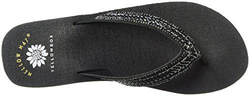 Toscani Black Women's Medium Flip Flop Black Yellow Box E0q06
