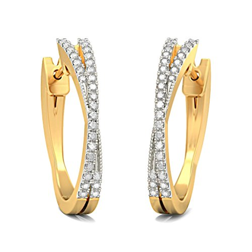 14 K jaune Or 0,22 CT TW White-diamond (IJ | SI) Boucles d'oreilles créoles