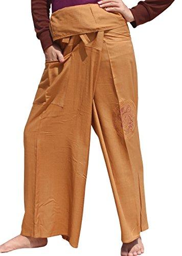 ahMuang Light Rayon Fisherman Pants With Embroidered Dragon Orb Art, Medium, Gold (Gold Dragon Pants)