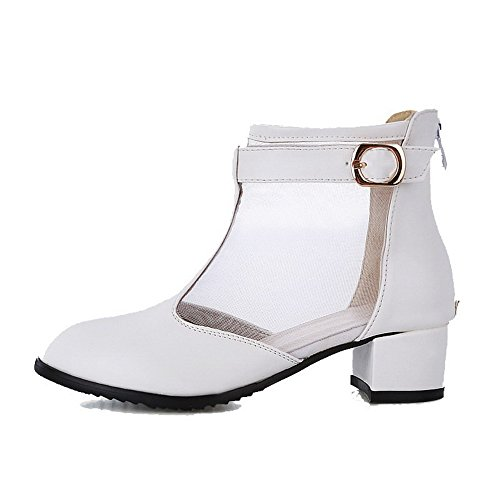VogueZone009 Women's Zipper Round Closed Toe Kitten-Heels PU Solid Pumps-Shoes White pHAwFG