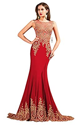 ORIENT BRIDE Women's Mermaid Evening Dresses Lace Long Prom Gown