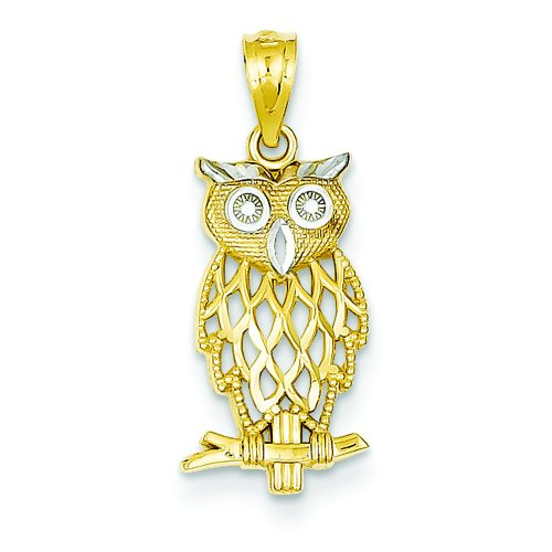 (14K Two Tone Gold Owl Charm Night Bird Pendant Jewelry )