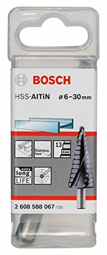 Bosch 2608588067 Step Drill Bit HSS-AlTiN 4/6 / 8/10 / 12/14 / 16/18 / 20/22 / 24/26 / 28/30, Silver, 6-30 mm