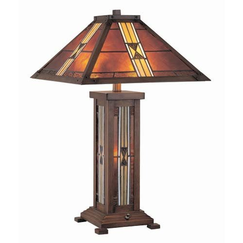 Lite Source LS-20812 Farah Table Lamp, Dark Bronze with Tiffany Shade and Night (Bronze Finish Tiffany Table Lamps)