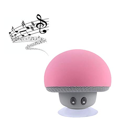 Hipipooo Cute Speaker Mushroom-Shaped, Portable Bluetooth Speaker Mini Speaker with Built-in Mic and Suction Cup for Kitchen/Bedrooms/Car/Desk/Shelf/Party/Travel/Outdoor Android/iOS Speaker(Pink)