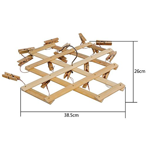 Ayygift SET OF 2 Durable Foldable Wooden Airer Laundry Rack Clothes Sock Hanger 16 Clips Clamps