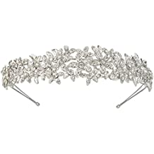 EVER FAITH Women's Austrian Crystal Wedding Flower Cluster Hair Band Clear