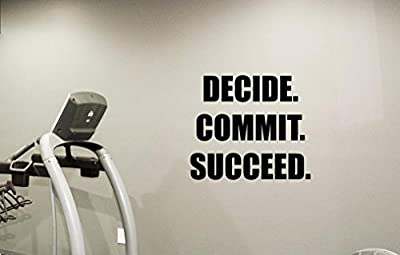 Fitness Wall Decal Gym Decide Commit Succeed Quote Motivational Bodybuilding Vinyl Sticker Inspirational Wall Decor Motivation Quote Sport Wall Art Training Workout Wall Mural 91quo