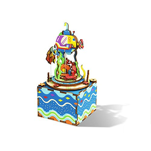 QZ HOME Music Box Creativity Fashion Birthday Present Children's Day Gift Undersea Kaleidoscope Wooden ()