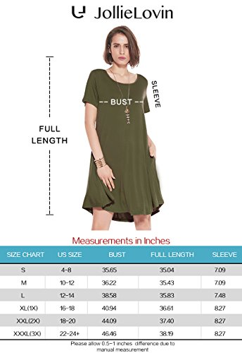 JollieLovin Women's Pockets Short Sleeve Casual Swing Loose Dress 4