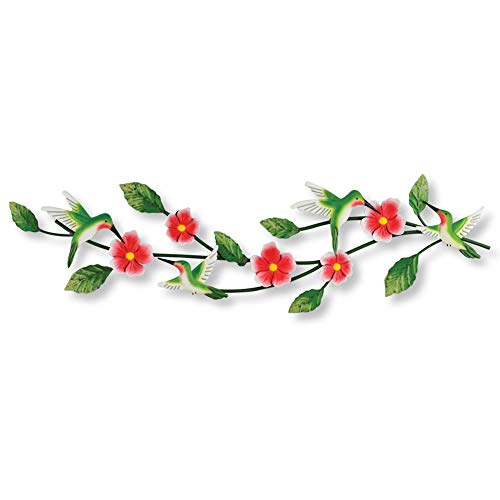 Collections Etc Hummingbird Floral Blooming Branches Metal Wall Art - Spring Home Décor for Any Room ()